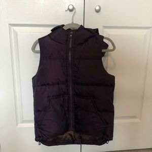 Coach purple hooded puffer vest, duck down & feather fill, xsmall